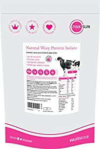 Whey Protein Isolate Powder Unflavoured 1kg (or 3kg 92% protein) Soy Free, Grass Fed, Gluten Free, Hormone Free, No Additives, Vegetarian, Undenatured, Non GM - PINK SUN UK Unsweetened Natural Whey