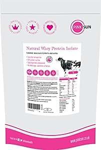 PINK SUN Proteine del Siero del Latte in Polvere Isolare 1kg Neutro Natural Whey (92% di proteina) Grass Fed 1000g Puro Naturali Vegetariano Non Denaturato Senza Soia