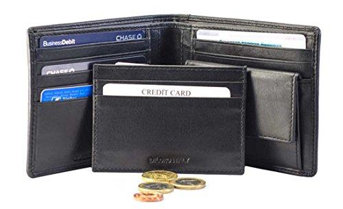 DiLoro Italy Geldbörse Portemonnaie Brieftasche Geldbeutel mit Kartenetui Schwarz Echtes Leder Herren mit Münzfach RFID Schutz 1703-BK