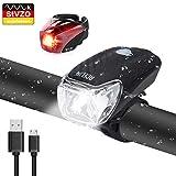 Acelife LED Fahrradlicht Set, USB Wiederaufladbare Fahrradlampe StVZO Zugelassen Fahrradbeleuchtung Fahrradlichter Set mit USB Kabel, 2 Licht Modi, Wasserdicht Frontlicht Rücklicht Set