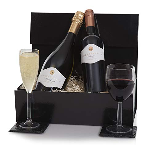 Luxury Prosecco & Red Wine Gift Hamper Presented In A Gift Box - Wine Hampers & Wine Duo Gifts