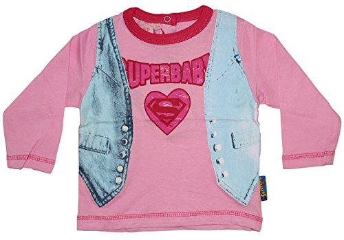 Superman - Maglia a manica lunga - Bebè femminuccia Rosa 86 cm (24 Mesi)