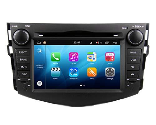 RoverOne 7 Zoll Android System Double Din Autoradio GPS für Toyota RAV4 2006-2012 mit Navigation Radio Stereo DVD Bluetooth USB Spiegel Link Touch Screen (Navigation System Rav4 Toyota)
