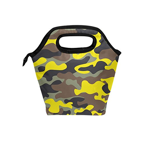 hunihuni Camo Camouflage Isolierte Thermo Lunch Kühltasche Tote Bento Box Handtasche Lunchbox mit Reißverschluss für Schule Büro Picknick - Camo Reißverschluss Tote