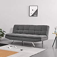 Panana Linen Fabric 3 Seater Sofa Bed Modern Corner Couch Settee for Lounge Living Room Click Clack Mechanism Gray
