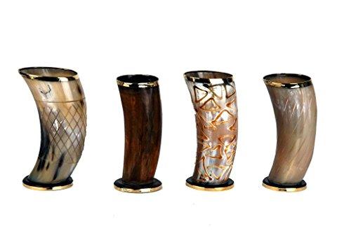 Parijat artisanale Lot de 4 Port Cérémonial 15,2 cm Viking Corne à boire Mug Tasses pour Ale Bière Vin Mead Cadeau