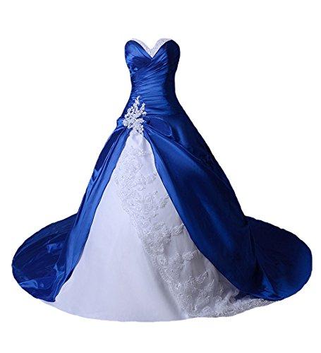 O.D.W Damen Spitze Lange Gotisch Hochzeitskleider Mehrfarbig Vintage Brautkleider(Weisse+K?nigsblau,...
