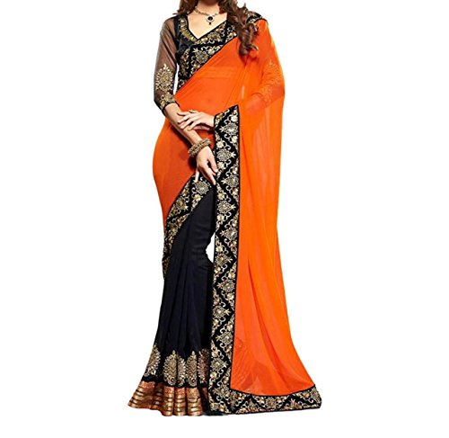 Sky Global Women's Orange&Black Chiffon Saree With Unstitched Blouse (Orange&Black_Saree_2047)  available at amazon for Rs.225