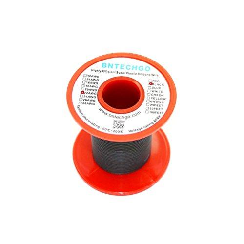 Bntechgo® 22gauge silicone Wire 50Feet nero morbido e flessibile 22awg silicone resistente alle alte temperature altamente efficiente 60fili di filo di rame stagnato