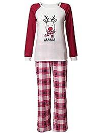 K-youth Conjunto de Pijamas Ropa Familiar Navidad Fiesta Elk Camisetas Hombre Mujer Niños Niña Blusa Tops y Rayas Pantalones Padre Hijo Madre Ropa de Dormir de Navidad para Familia