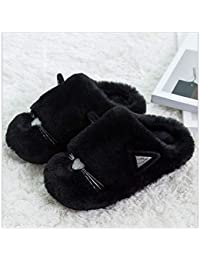Los Caricatura Caliente Costura GAOHUI Hombres Artificial Negro Slippers Zapatos Felpa Invierno De Antideslizante Zapatillas qwg5pAgx