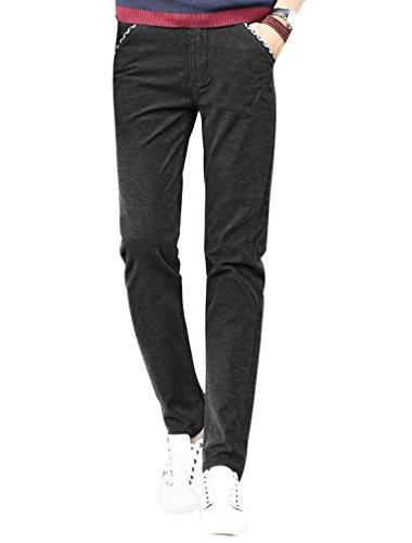 sourcingmap Hommes Taille Moyenne Braguette Zip Détail De Plaids Pantalon Slim Noir