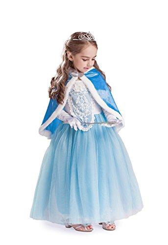 (ELSA & ANNA® Mädchen Prinzessin Kleid Paket Verrücktes Kleid Set Partei Kostüm Set - Paket Beinhaltet Kleid Handschuhe Krone Zauberstab - DE-SETC1 (SETC1, 8-9 Jahre))