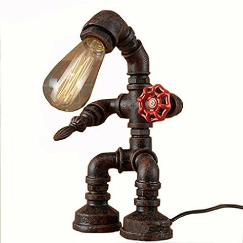 Industrielle Retro Wasserdichte Tischlampen Kreative Bronze Rostige Eisen Nachttischlampen Studie Café Bar Dekorative Schreibtisch Lampen - Hoch 32cm, Basis 18cm, E27 (nicht enthalten) Licht
