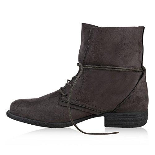 Damen Stiefeletten Schnürstiefel Worker Boots Velours Schuhe Grau