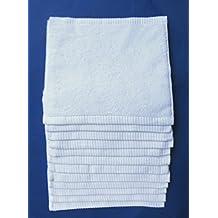 12 toallitas de maquillaje, blancas,multiusos, 30x30cm, 100%algodón,600gr/m2, hechas en Portugal.
