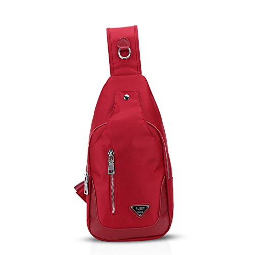 FANDARE Mode Outdoor Sports Rucksack Sling Bag Umhängetasche Brusttasche Messenger Bag Schultertasche Reisen Wandern Daypack Crossbody Bag Chest Pack Reisetasche Polyester Rot