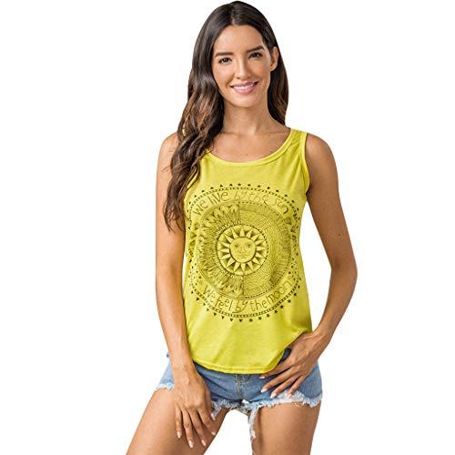 SEWORLD Tanktop Damen Frauen Sonne Gedruckt Tank Tops Bluse Casual Ärmellos Weste T-Shirt Oberteil (Gelb,S)