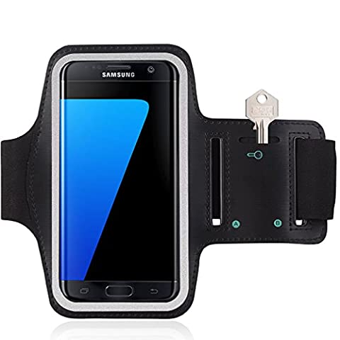 Samsung Galaxy S6 / S6 Edge / S7 Running Sports Armband Gyms Fitness Workout ARM Band Cover Strap (Black /