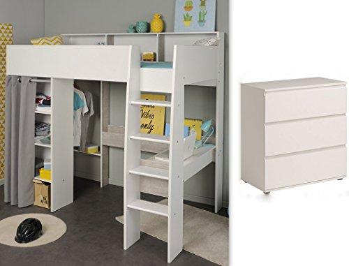 expendio Jugendzimmer Tomke 12 weiß 205x193x132 cm Bett Hochbett mit Schreibtisch Kinderbett Kommode - Loft Bett Mit Schreibtisch