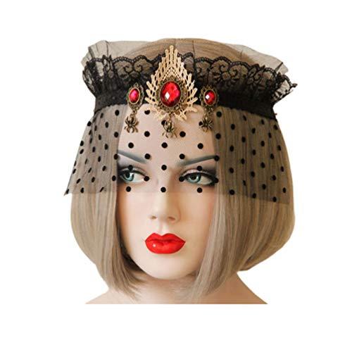 Mädchen Toten Kostüm Gothic - Minkissy schwarze elegante Spitze Schleier Abdeckung Stirnband Gothic Spinne Edelstein Krone sexy Augenmaske Maske für Halloween Maskerade Party