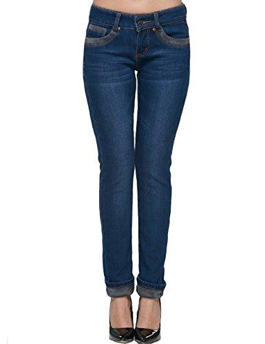 Flanell Damen Hose (Camii Mia Damen Flanell Gefüttert Skinny Jeanshosen (W26, Blau))