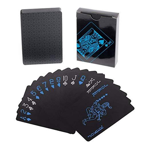 Lareina.C Schwarze Plastik Spielkarten Wasserdichtes Premium Profi Poker-Karten Zaubern Playing Cards aus Plastik für Party-Spiele (Index Karten Baby)