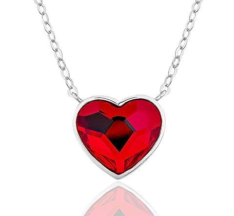DTPsilver - Collier avec Pendentif Femme en Argent Fin 925 avec Cristaux de Swarovski Elements - Couleur Rouge en Forme de Cœur
