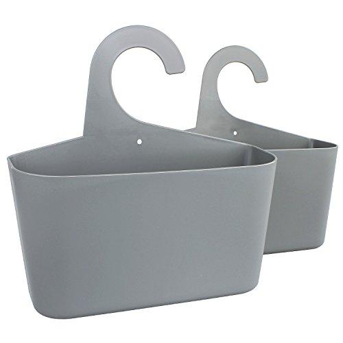 meberg LA05 2er Set Duschkörbe zum hängen Grau/aus Kunststoff, für Bad, Küche UVM. Stabile Aufbewahrungskörbe Utensilienbehälter Hängekorb