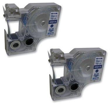 Prestige Cartridge 45014 / S0720540 Lot de 2 Rubans cassettes pour Dymo Pocket/LabelManager/LabelPoint/LabelWriter Duo 12 mm x 7 m Bleu sur Blanc