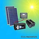 Komplette 220V 500W Solaranlage TÜV mit 280Ah Qualitäts- Akku wartungsfrei + 2x 275W Qualitäts- Solarmodule + 1000W Qualitäts Spannungswandler + Laderegler 60A LCD Display Inselanlage Komplettsystem