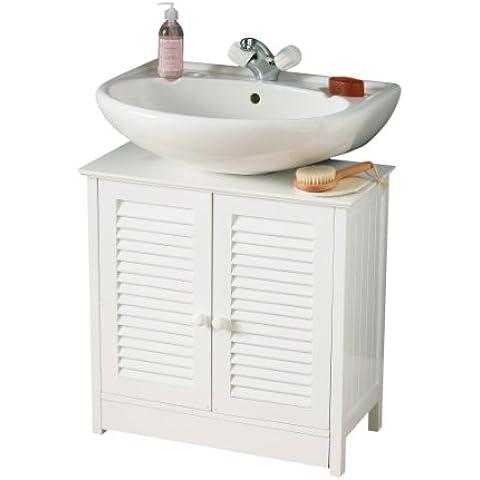 Premier Housewares Mobile sottolavello per bagno con due ante 60 x 60 x 30 cm, colore: Bianco