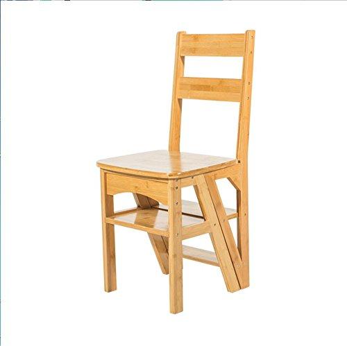 Tabouret en bois Ménage multifonction échelle tabouret en bois massif enfants pliant chaise double échelle en quatre étapes d'escalade/chaise pliante (Couleur : Bois Couleur)