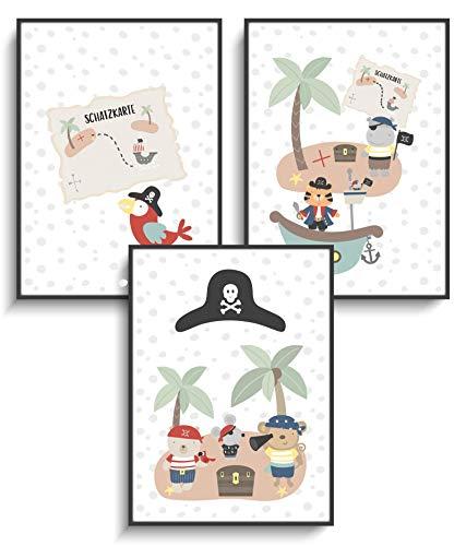 Kunstdruck DIN A4 Wandbilder 3er Set Piraten Tiere Lustig Deko ohne Rahmen Kinderzimmer Kind Mädchen Junge Design Schiff Schatzkiste Löwe Maus Modern