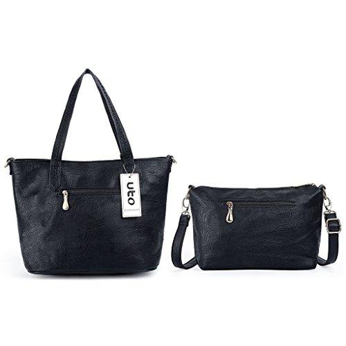 fb963dc7d759b ... UTO Damen Handtasche Set 3 Stücke Tasche PU Leder Shopper klein  Schultertasche Geldbörse Riemen schwarz schwarz ...