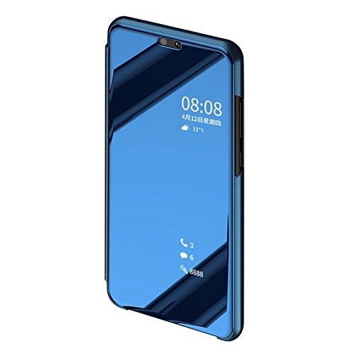 BCIT Huawei P20 Pro Funda - Modelo inteligente Fecha / Hora Ver Espejo Brillante tirón del caso duro Con para el Huawei P20 Pro - Azul