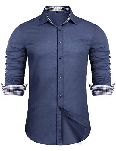 Sykooria Männer Langarmhemd Baumwolle Jahrgang Schnell Trocken Leicht Button Business Freizeit Männer Freizeit Lustig Hemd