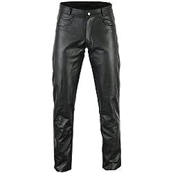 Bikers Gear CE1621-1 - Pantalón de piel sintética para hombre, talla M, color negro