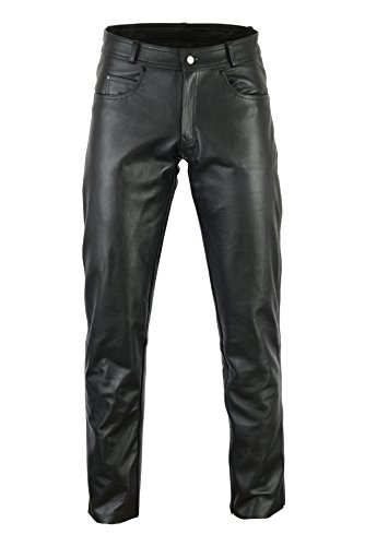 Bikers Gear Rock and Roll Damen Motorradhose CE1621-1 PU Armour Premier Rindsleder Taille, Schwarz, Größe S
