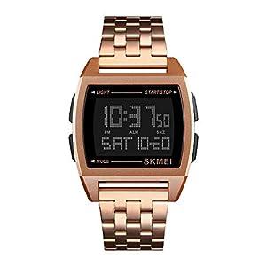 Relojes Pulsera Multifunción Outdoor Esfera Metálica Rectangular Digitale Relojes Hombre Correa de Acero Inoxidable Negocios Deportivo, Oro Rosa