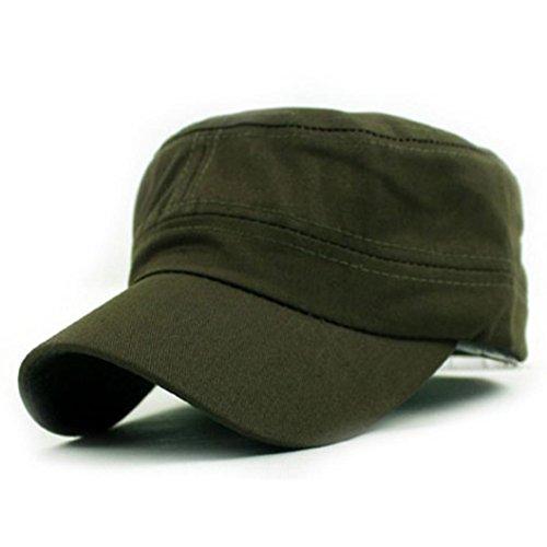 Transer® Army Military Cadet Style Baumwolle Cap, Frauen klassische Uni Vintage Sport Snapback Hip Hop Flat Hat Golf Hüte verstellbar, armee-grün (Cap Golf Klassisches)