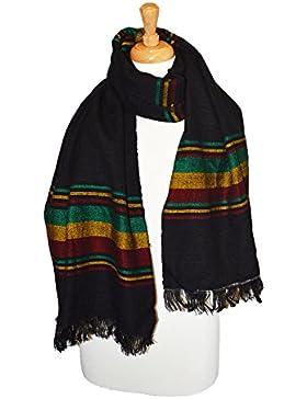 Chal negro tejido a mano de algodón Rasta