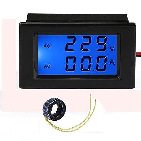 GEREE AC 80/ 300V 100A Digital Voltage Current Multimeter LCD Volt Amp Meter Gauge Panel Tester Voltage Amperage Dual Display LED Power Monitor with Blue Back-light and Current Transformer