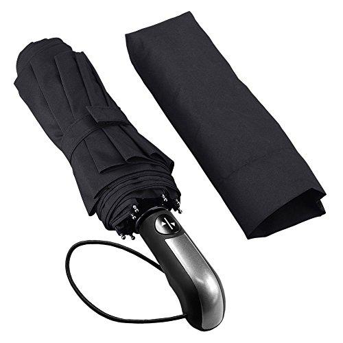 Regenschirm High-End Golf Automatische, Regenschirm faltbar winddicht, Regenschirme Reise- und Ausgänge im Freien. Öffnen und Schließen Automatische. Vorhangstangen aus Carbon-Faser (schwarz)
