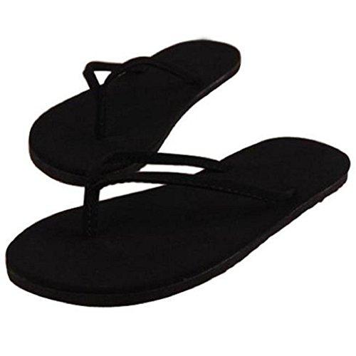 Damen Flip Flops, SHOBDW Damen Frauen Sommer Flip Flops Schuhe Sandalen Slipper Innen-und Outdoor-Flip-Flops (38, Schwarz) (Leder Flachen Damen Sandalen Neue)