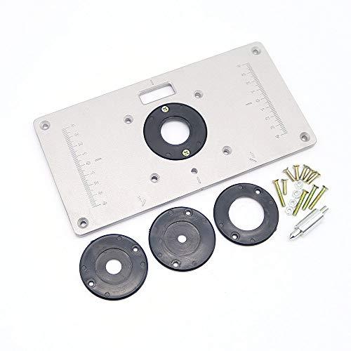Aluminium routeur Table Insert plate avec insert 4anneaux