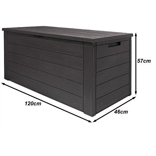 auflagenbox woody holzoptik mit klappbarem deckel 120x46x57cm kissenbox gartenbox truhe. Black Bedroom Furniture Sets. Home Design Ideas