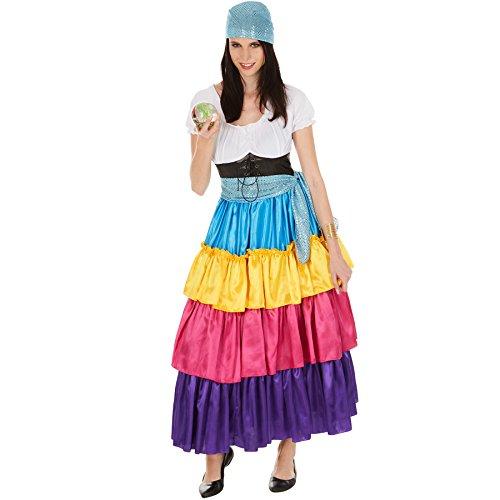 Frauenkostüm Hellseherin | wundervolles, langes Kleid | Bunt und bezaubernd | inkl. Bindegürtel (XXL | Nr. 301014) (Lustig Wahrsagerin Kostüm)