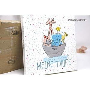 Gästebuch Taufe Mädchen oder Junge personalisiert - Arche Noah - Eintragalbum, Erinnerungsalbum - Geschenk für Patenkind