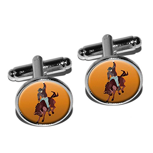 Rodeo Cowboy Orange – Western Pferd Country rund Manschettenknopf Set – Silber (Country-western-rodeo)
